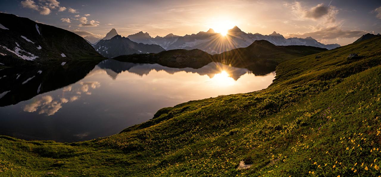 Фото альп Швейцария Valais Горы Природа Озеро Пейзаж рассвет и закат Альпы гора Рассветы и закаты