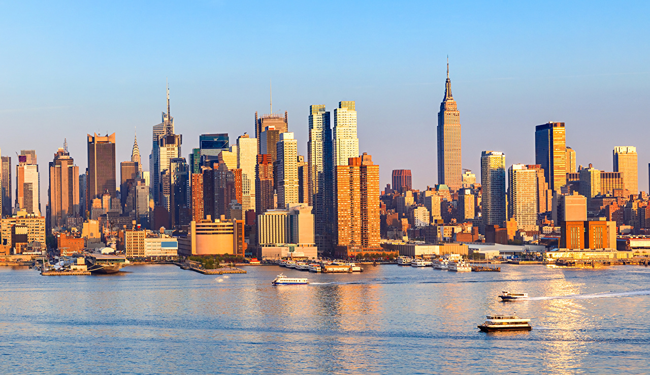 Картинки Нью-Йорк штаты берег Причалы Небоскребы Города США Пирсы Пристань Побережье город