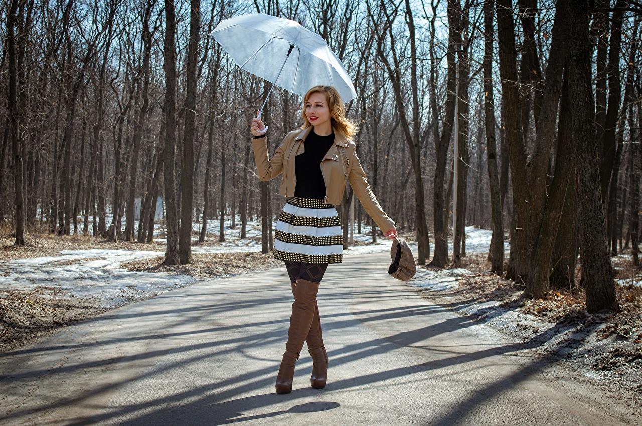 Картинка Victoria Borodinova юбки сапог Весна куртки молодые женщины Ноги Дороги Зонт Руки Юбка юбке Сапоги сапогов сапогах куртке Куртка куртках девушка Девушки весенние молодая женщина ног рука зонтом зонтик