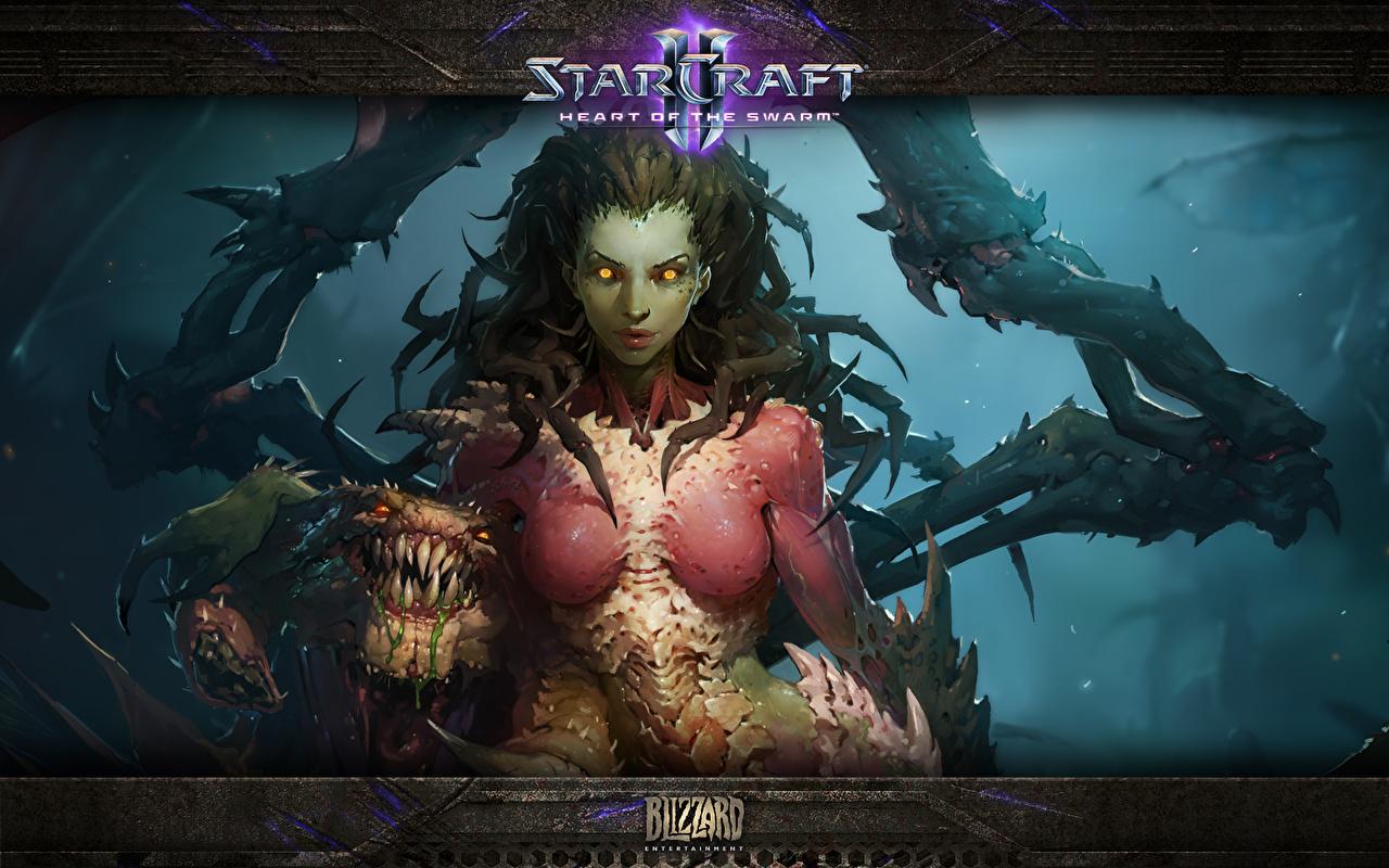 Обои для рабочего стола StarCraft StarCraft 2 Сара Керриган Queen of Blades Фэнтези Игры Сверхъестественные существа Фантастика компьютерная игра