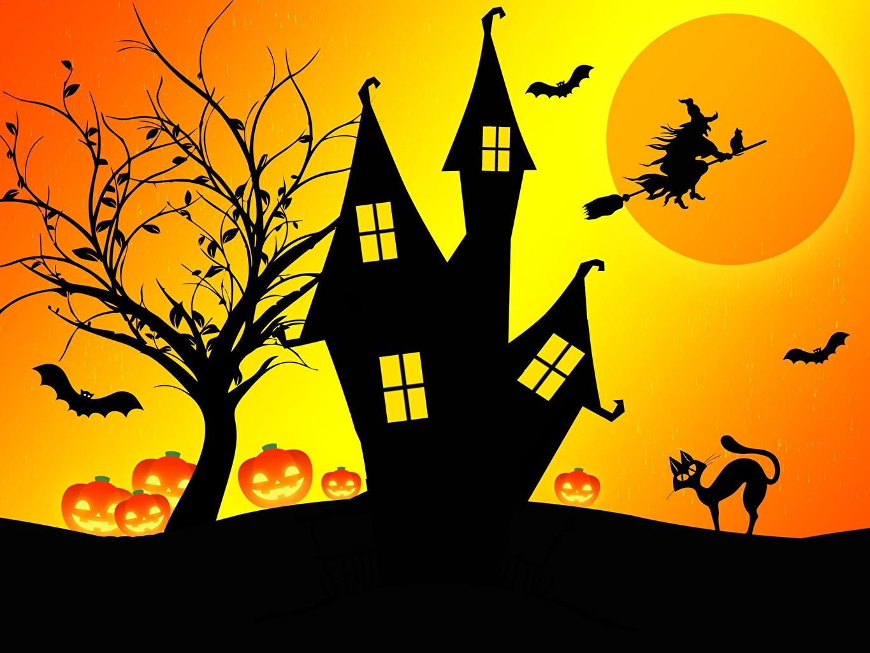 Обои для рабочего стола Ведьма Хеллоуин силуэты замок хэллоуин Силуэт силуэта Замки