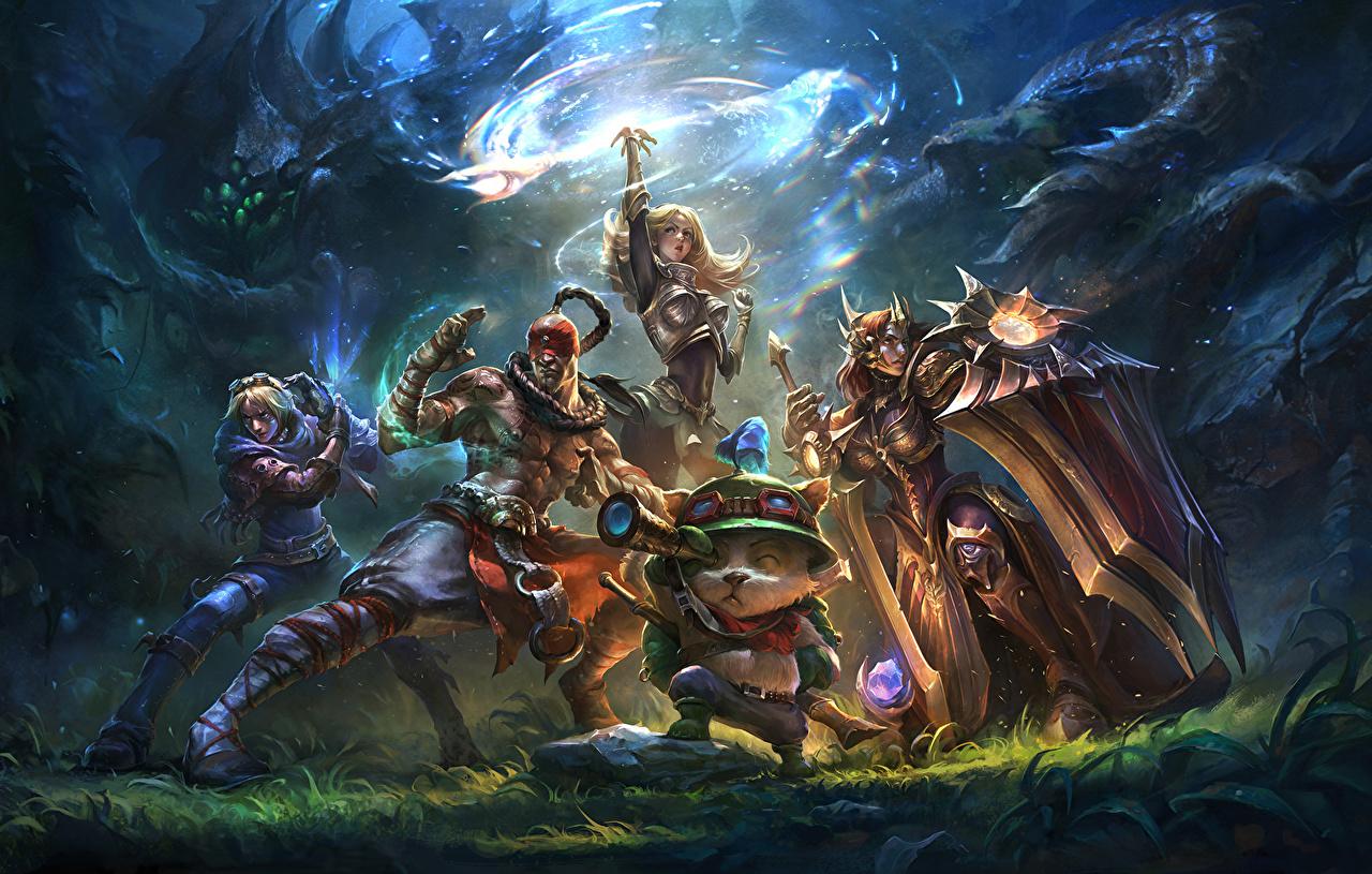 Фото League of Legends с щитом воины девушка Фэнтези Игры LOL Щит щиты воин Воители Девушки Фантастика молодая женщина молодые женщины компьютерная игра