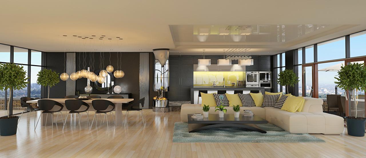 Фото Гостиная 3D Графика Интерьер стола диване Подушки дизайна гостевая 3д Стол столы Диван подушка Дизайн