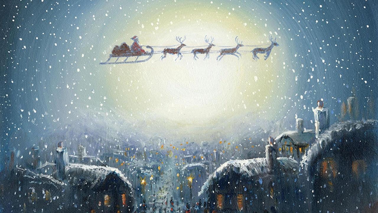 Фотография Олени Новый год санках Дед Мороз летящий Праздники Рождество Сани Санки санях Санта-Клаус Полет летит летят