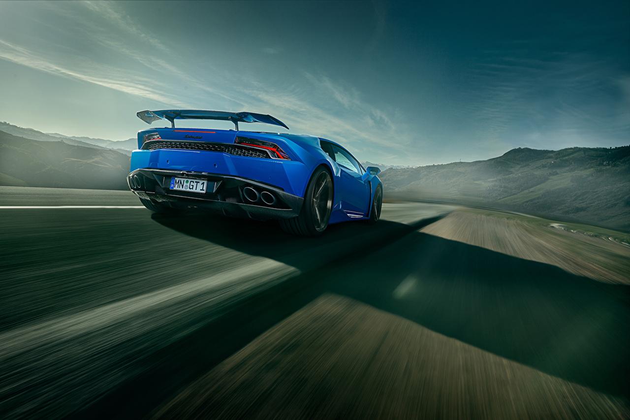Фотография Lamborghini Novitec Torado Huracan синяя Движение Машины вид сзади Ламборгини синих синие Синий едет едущий едущая скорость Авто Сзади Автомобили