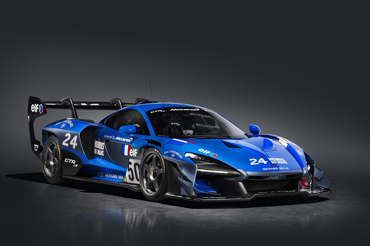 Обои для рабочего стола Тюнинг Макларен 2020 Senna GTR LM 825-7 Jacadi car синие машины сером фоне McLaren Стайлинг синяя Синий синих авто машина Автомобили автомобиль Серый фон