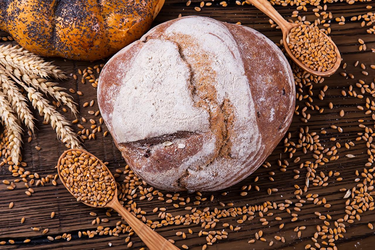 Фото Пшеница Хлеб зерно Колос Еда Ложка Выпечка Зерна колосья колоски колосок Пища ложки Продукты питания