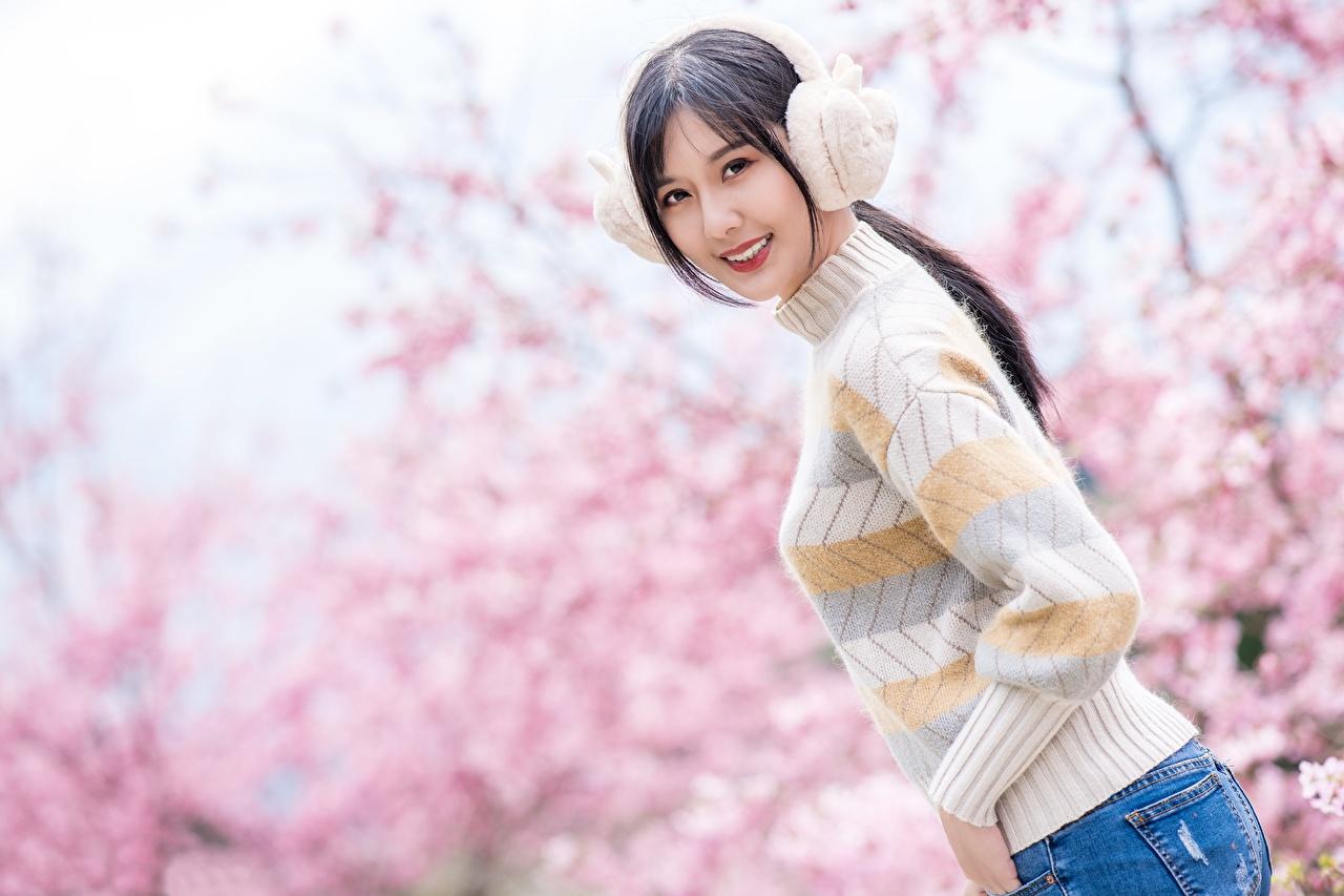 Картинки Брюнетка в наушниках улыбается Размытый фон молодые женщины Азиаты Свитер смотрят Наушники брюнетки брюнеток Улыбка боке девушка Девушки молодая женщина азиатки азиатка свитере свитера Взгляд смотрит