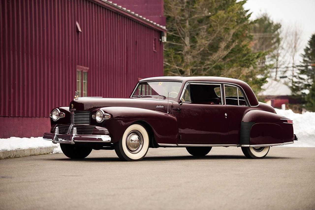 Картинка Lincoln 1942 Continental Coupe Бордовый старинные Авто Металлик Ретро Винтаж Машины Автомобили