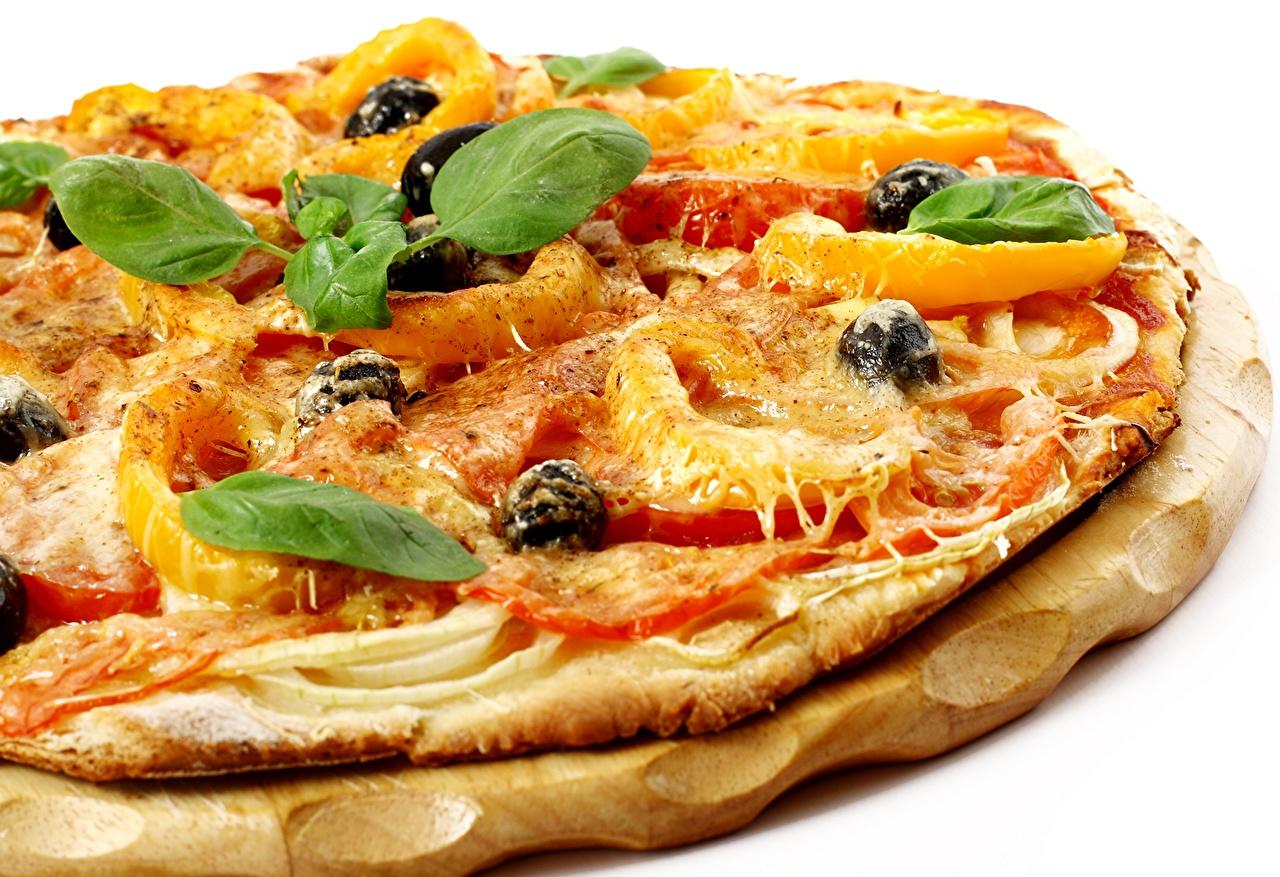 Обои для рабочего стола Пища Пицца Базилик душистый вблизи Еда Продукты питания Крупным планом