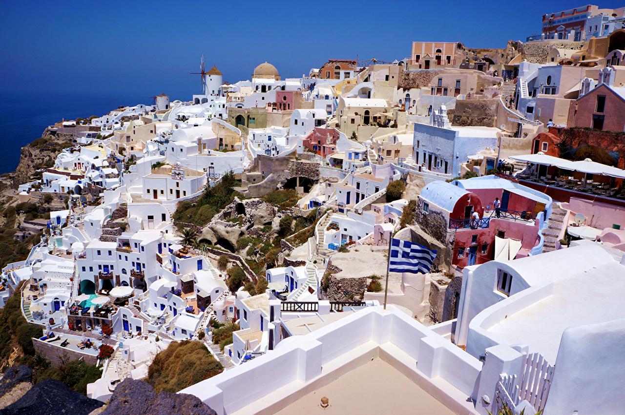 Картинки Греция Santorini Сверху Дома город Города Здания