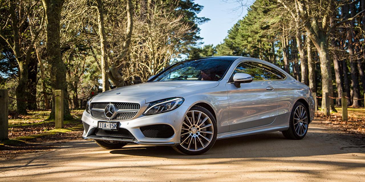 Картинка Мерседес бенц AMG C-Class C205 Купе Серебристый Машины Mercedes-Benz Авто Автомобили