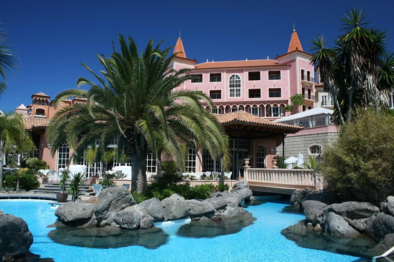 Фотографии Канары Испания Курорты Бассейны Tenerife Пальмы Города Здания Канарские острова Плавательный бассейн Дома