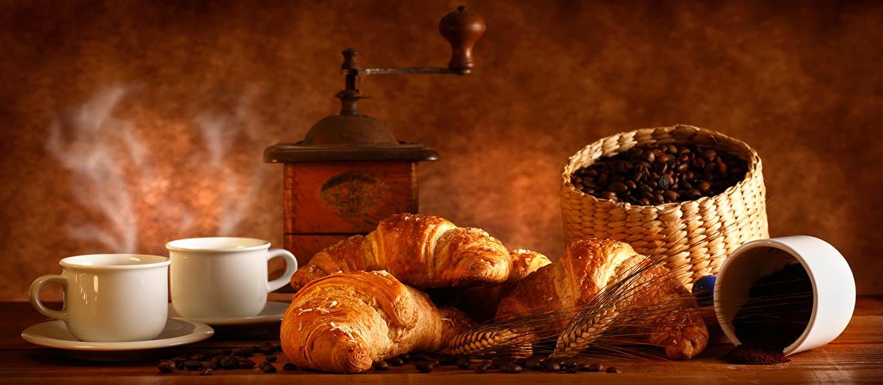 Картинка Еда Кофе Круассан Зерна Чашка Колос Кофемолка Пища Продукты питания зерно чашке колосья колоски колосок