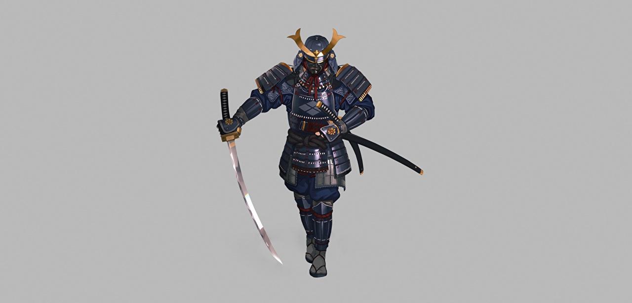Картинки Доспехи самураи Воители Катана Hyun sung oh Фэнтези сером фоне броне броня доспехе Самурай самурая доспехах воин воины Фантастика Серый фон