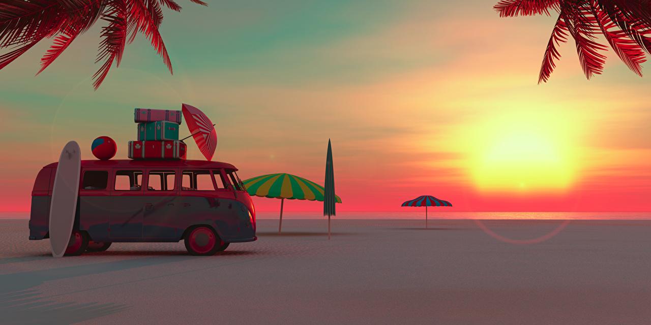 Фото Автобус Курорты Природа 3D Графика Чемодан Рассветы и закаты Зонт Побережье берег