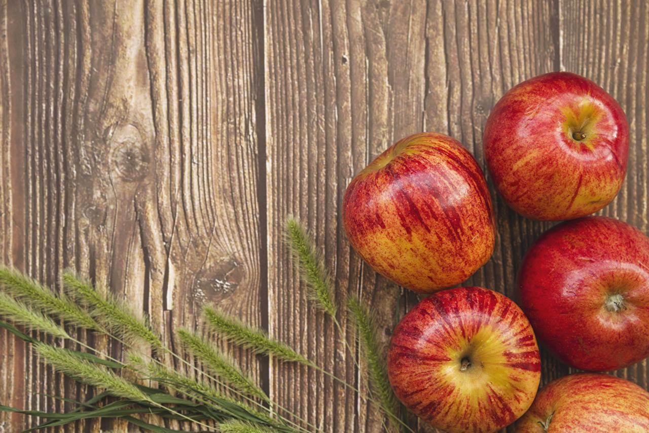 Фото Колос Яблоки Пища Крупным планом Доски колосья колоски колосок Еда Продукты питания вблизи