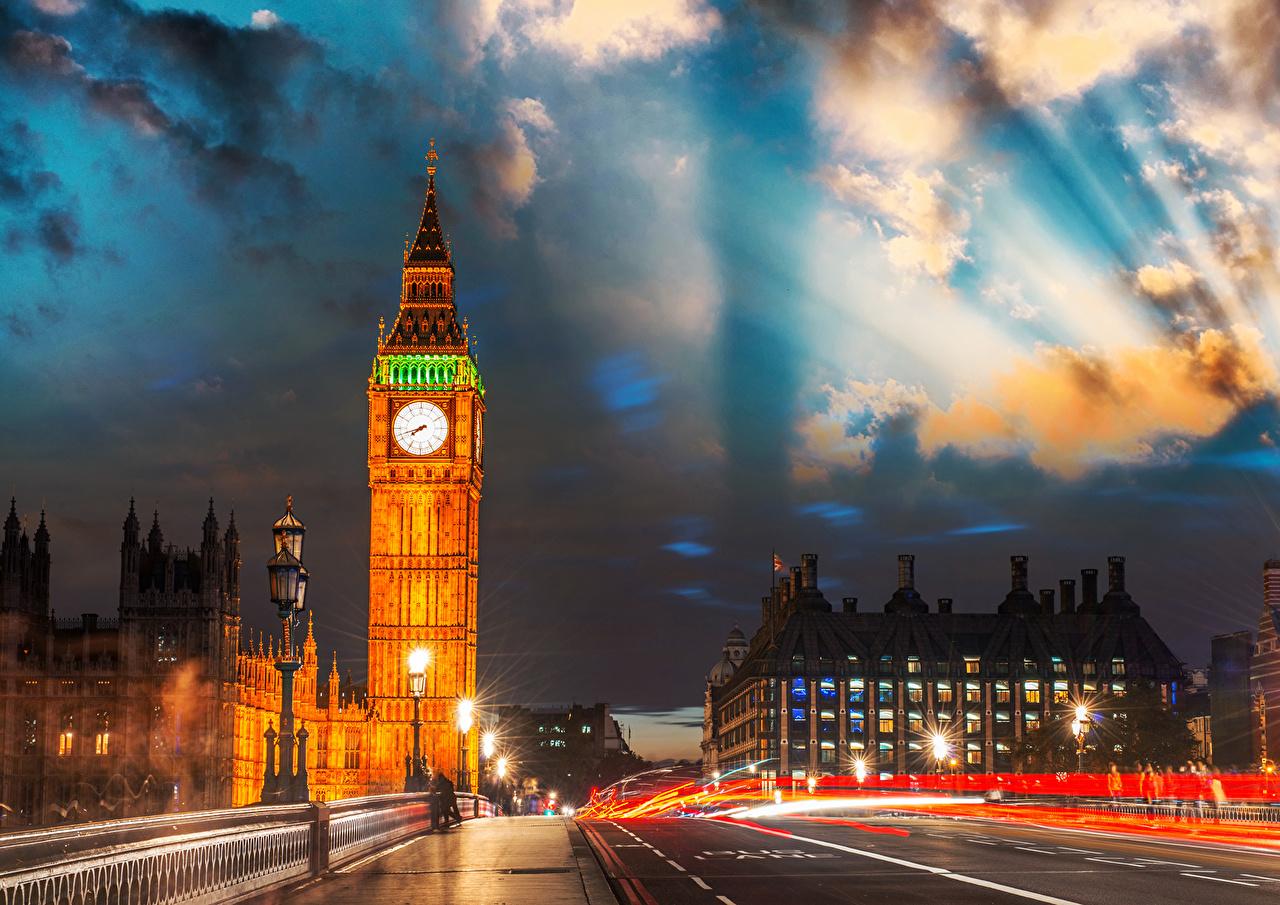 Картинки Лондон Биг-Бен Англия Ночь Города лондоне ночью в ночи Ночные город