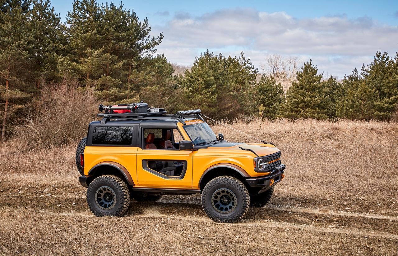 Фото Форд SUV Bronco 2, Door Preproduction, 2020 Желтый Сбоку Автомобили деревьев Ford Внедорожник желтая желтые желтых авто машины машина автомобиль дерево дерева Деревья