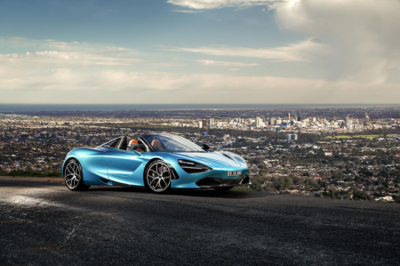 Картинки Макларен 2019-20 720S Spider Родстер Голубой Автомобили McLaren голубая голубые голубых авто машины машина автомобиль