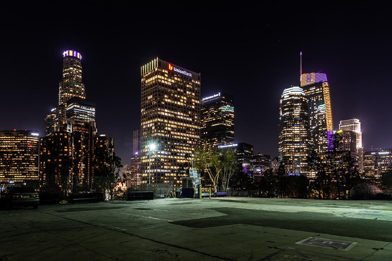Обои для рабочего стола Лос-Анджелес США Вечер Уличные фонари Дома Города штаты америка город Здания