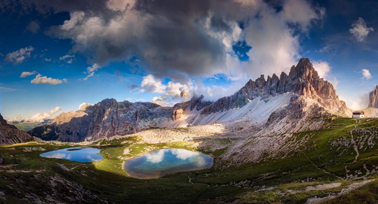 Фотография гора Природа Небо Озеро Пейзаж облачно Горы Облака облако