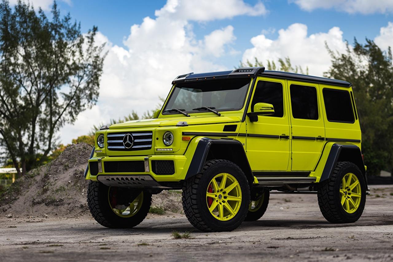 Фото Mercedes-Benz G-класс 4x4 HRE G550 TR188 салатовые Автомобили Мерседес бенц гелентваген салатовая Салатовый желто зеленый авто машина машины автомобиль