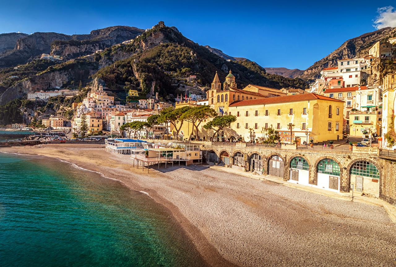 Фото Амальфи Италия пляже Горы Побережье Дома Города Пляж пляжа пляжи гора берег город Здания