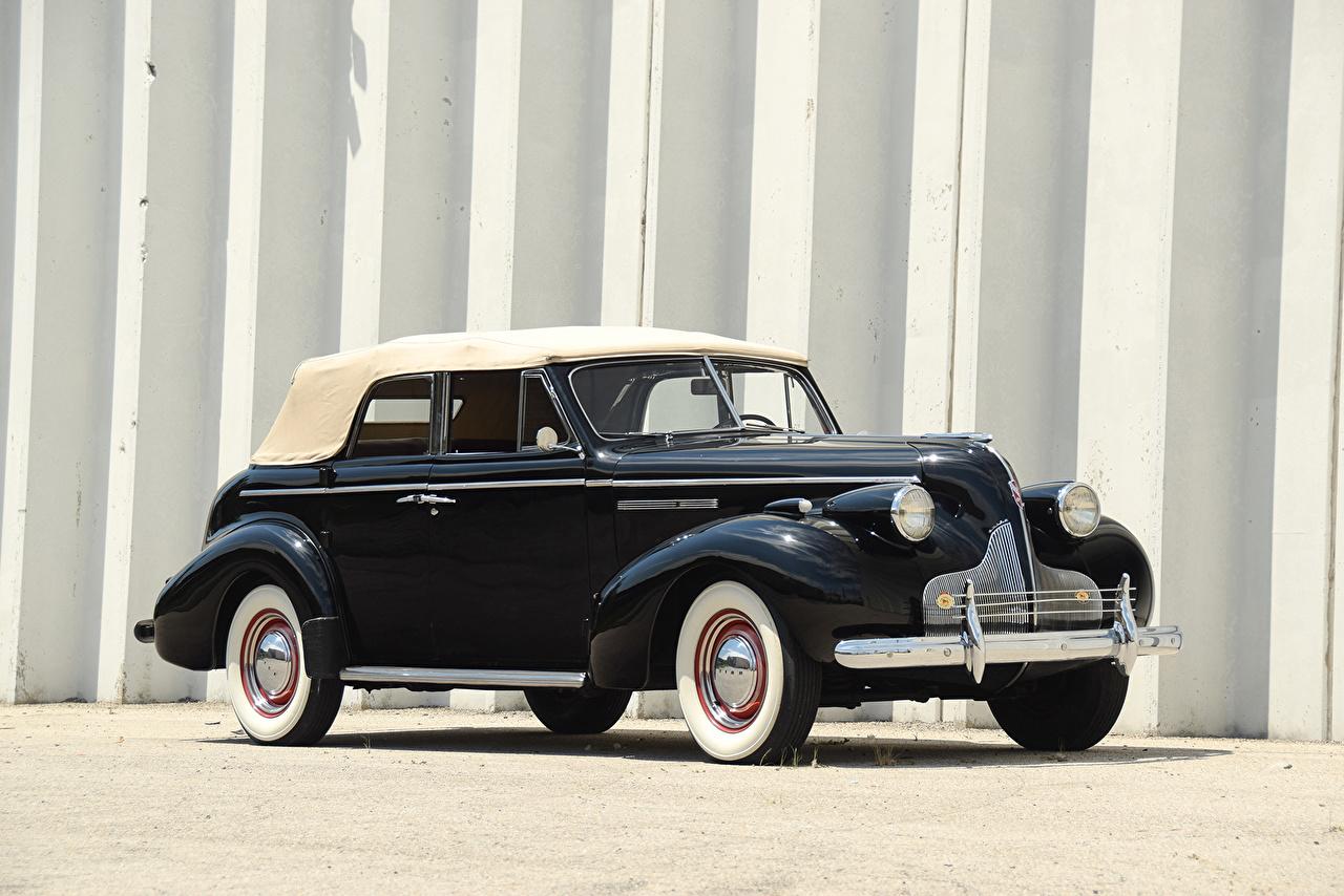 Фотография Buick 1939 Special Sport Phaeton Ретро черных Металлик автомобиль Бьюик Черный черные черная винтаж старинные авто машина машины Автомобили
