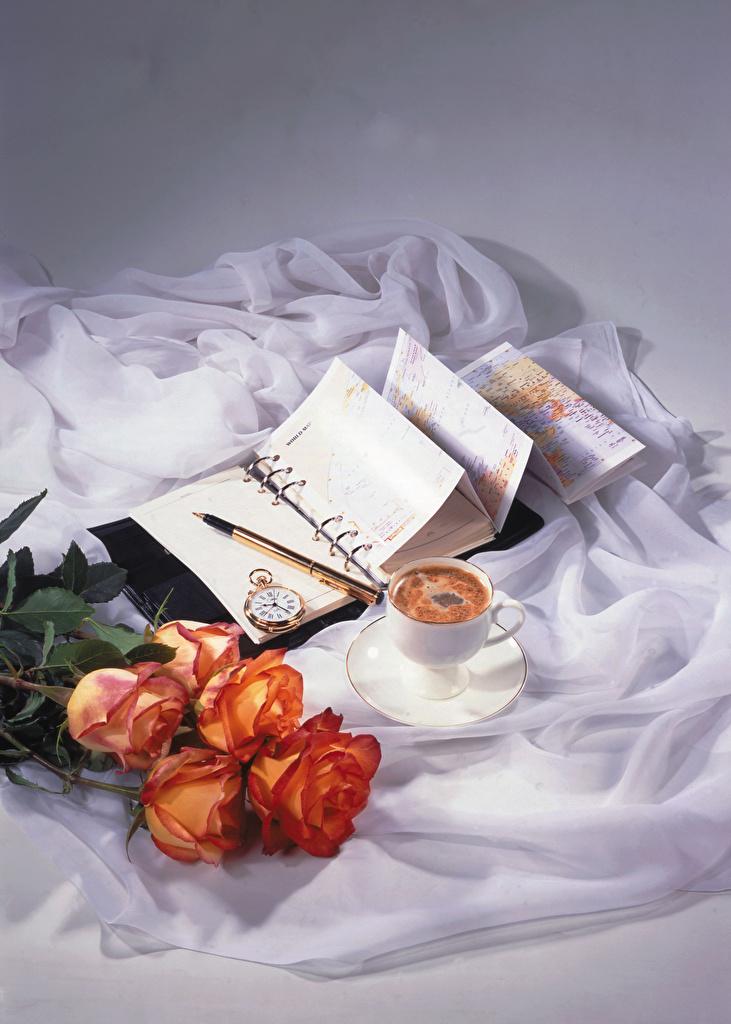 Картинка Блокнот Часы Кофе роза цветок Пища Чашка Натюрморт  для мобильного телефона Розы Цветы Еда чашке Продукты питания