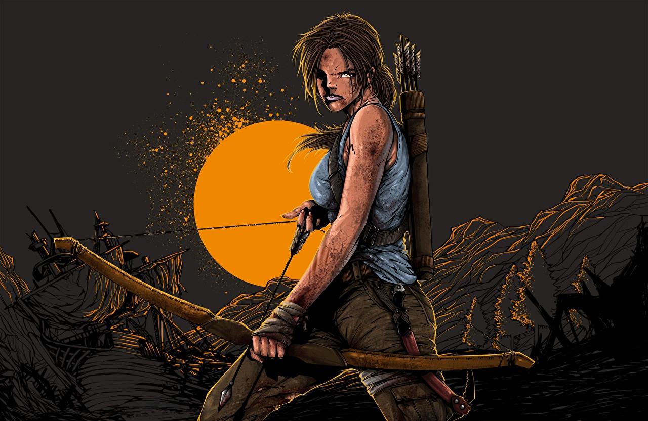 Фотографии Tomb Raider 2013 Лара Крофт луком Недовольство Игры Ночь Лук оружие Хмурость компьютерная игра ночью в ночи Ночные