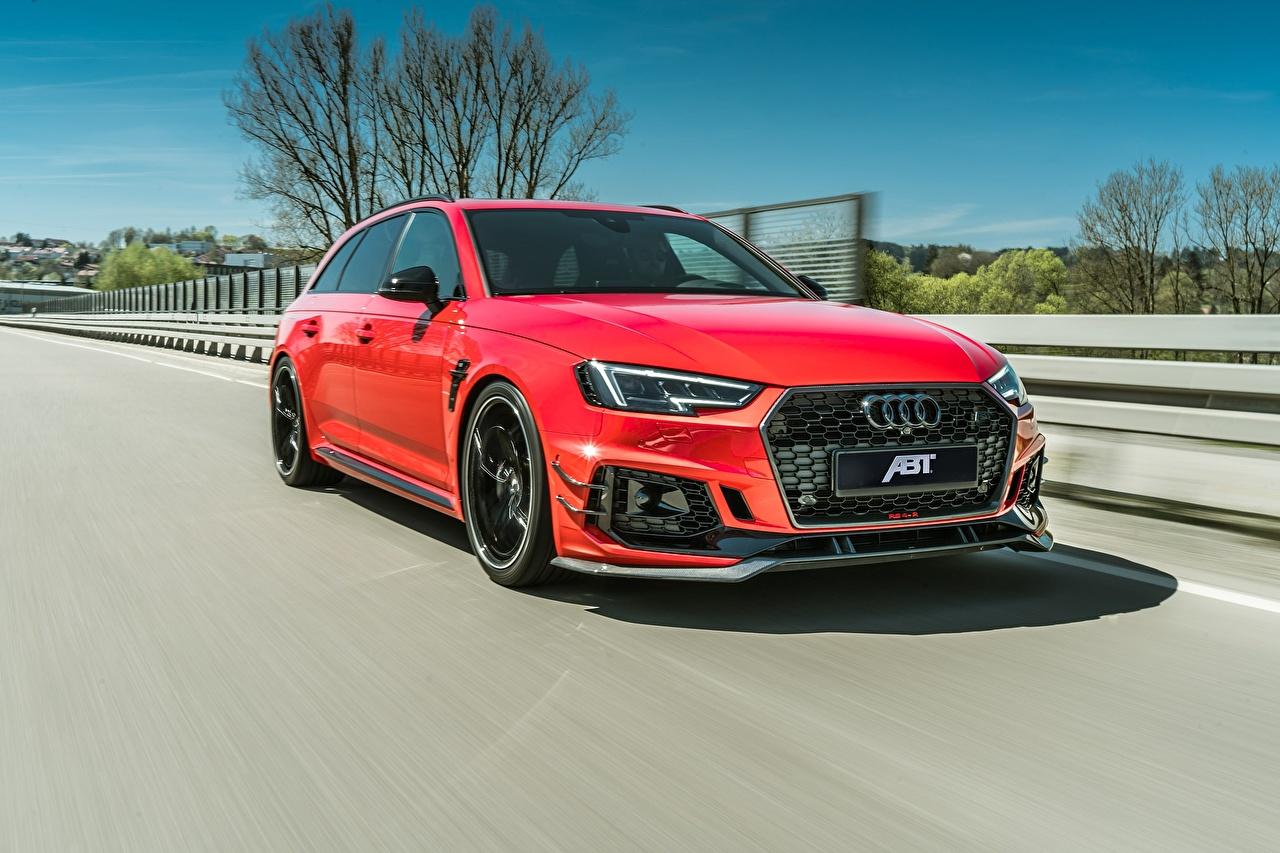 Фото Audi 2018 ABT RS4 RS4-R Красный Движение авто Металлик Ауди красная красные красных едет едущий едущая скорость машина машины Автомобили автомобиль