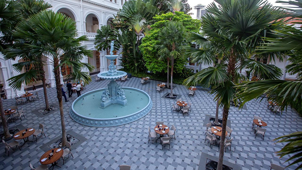 Картинки Сингапур Фонтаны Raffles Hotel гостиницы Пальмы столы Стулья Здания Города Скульптуры Отель отеля Гостиница пальм пальма стул Стол стола Дома город скульптура