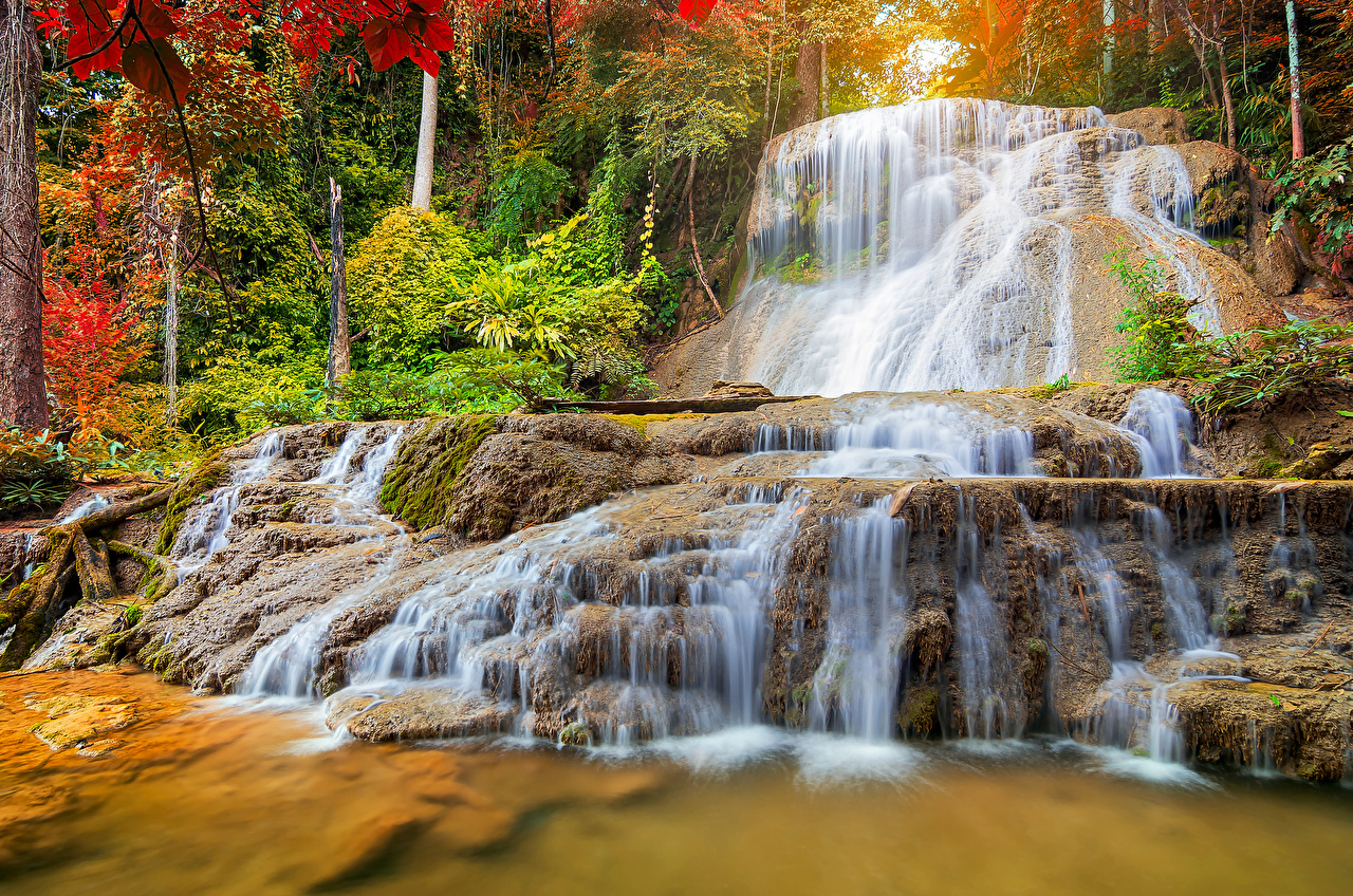 Фотографии Таиланд Mae Kae Waterfall Lampang Осень Природа Водопады Парки осенние