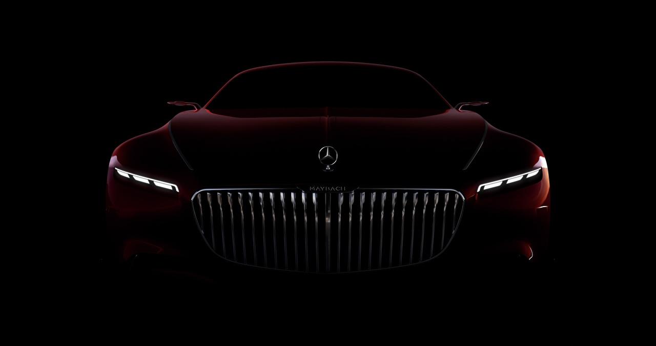 Фотография Мерседес бенц Maybach Vision 6 бордовая машины Спереди на черном фоне Mercedes-Benz Бордовый бордовые темно красный авто машина Автомобили автомобиль Черный фон