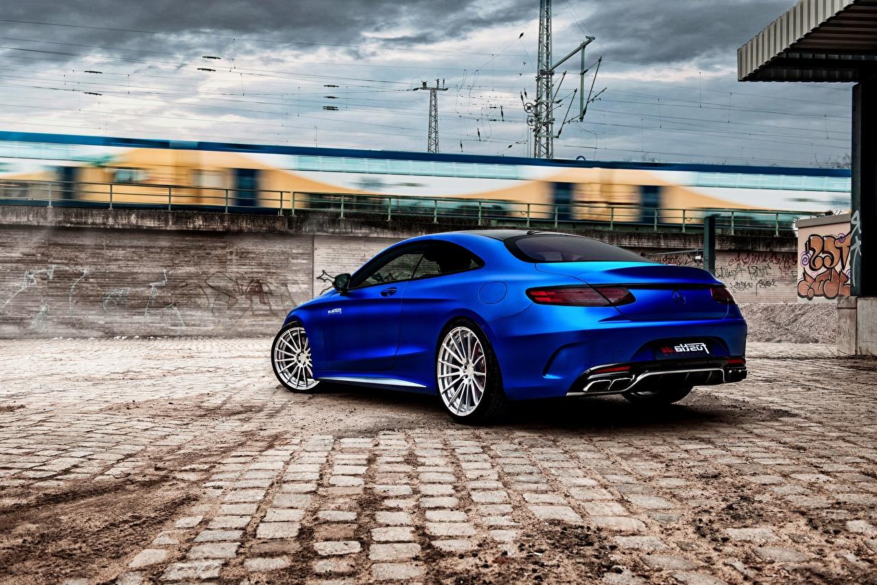 Картинка Mercedes-Benz AMG S-Class C217 Купе синяя вид сзади Автомобили Мерседес бенц Синий синие синих авто Сзади машины машина автомобиль