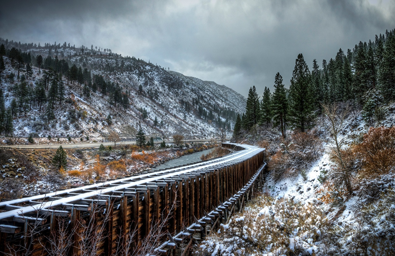Картинки Горы Природа Снег Железные дороги гора снега снегу снеге