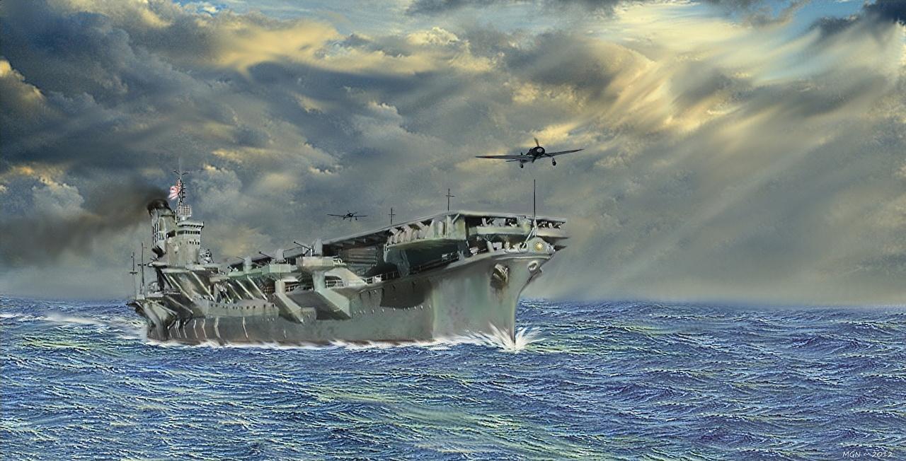 Фотографии Авианосец Японские aircraft carrier Shinano Рисованные военные японский японская Армия
