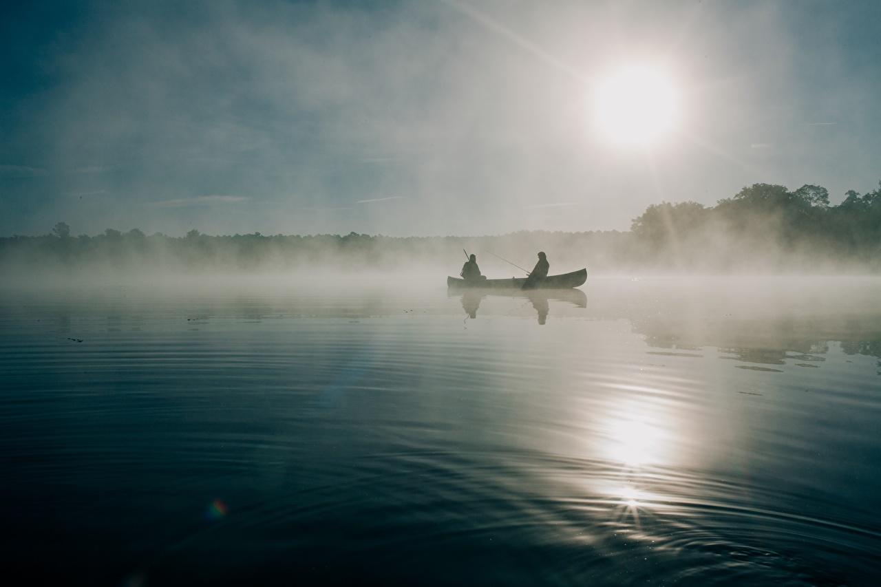Обои Туман Природа Рыбалка Утро Лодки ловля рыбы