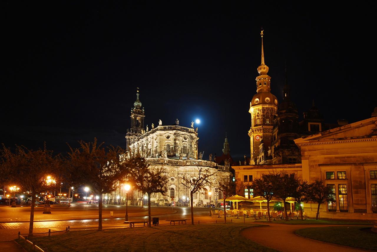 Обои для рабочего стола Дрезден Германия Sachsen улице Ночные Города улиц Улица Ночь ночью в ночи город