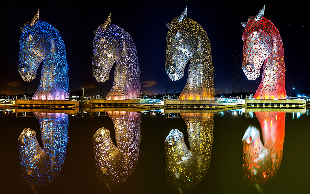 Картинки Лошади Шотландия Kelpies Falkirk Forth and Clyde Canal Природа парк Вода Скульптуры лошадь Парки