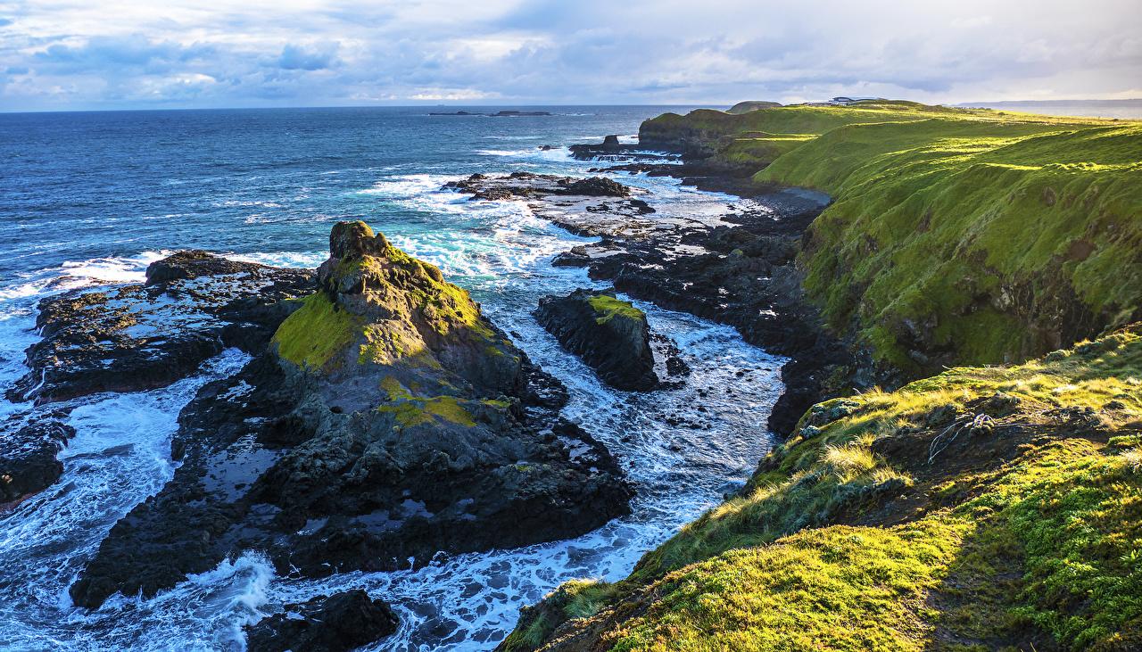 Картинка Австралия Phillip Island Море Утес Природа берег Скала Побережье