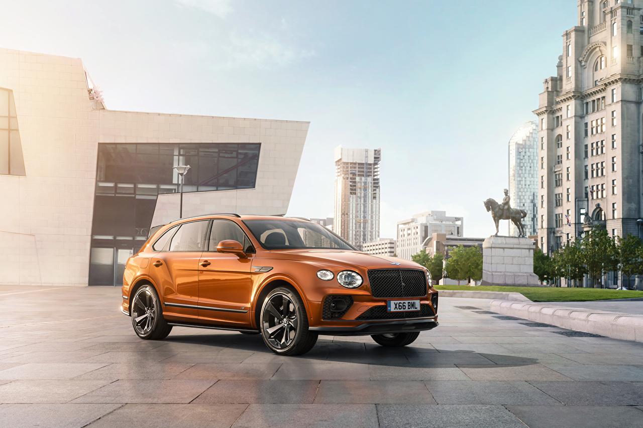 Обои для рабочего стола Bentley Кроссовер Bentayga V8 Worldwide, 2020 оранжевых Металлик Автомобили Бентли CUV Оранжевый оранжевые оранжевая авто машина машины автомобиль