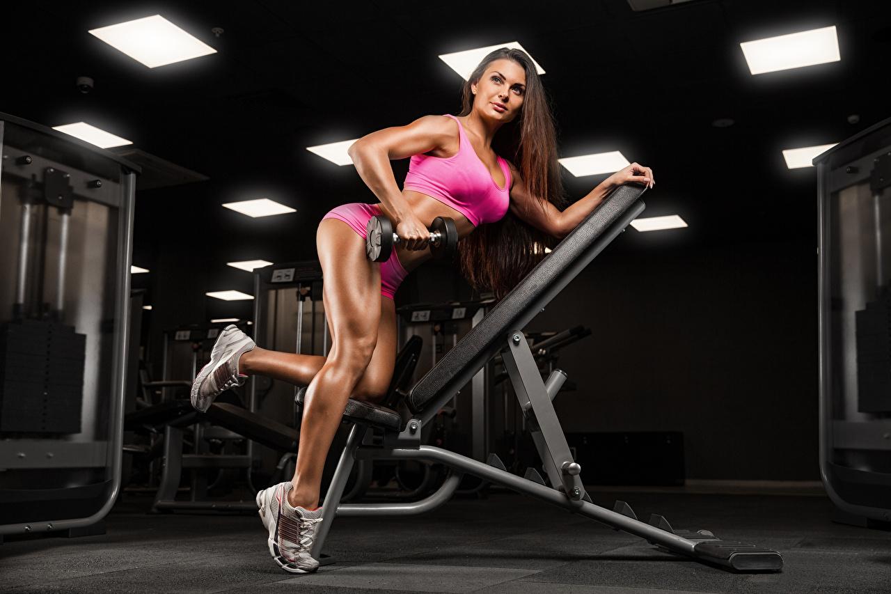 Картинки Шатенка тренируется Красивые Фитнес Спорт гантелей молодые женщины ног смотрят шатенки Тренировка физическое упражнение красивый красивая Девушки гантеля девушка Гантели гантель гантелями спортивный спортивная спортивные молодая женщина Ноги Взгляд смотрит