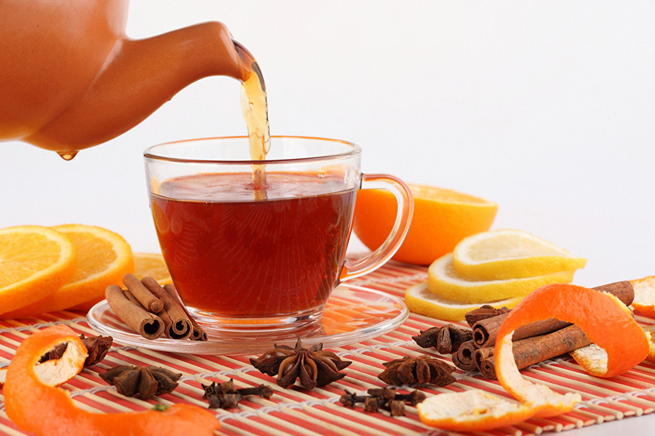 Картинка Чай Апельсин Корица Чайник Пища чашке Блюдце Еда Чашка блюдца Продукты питания