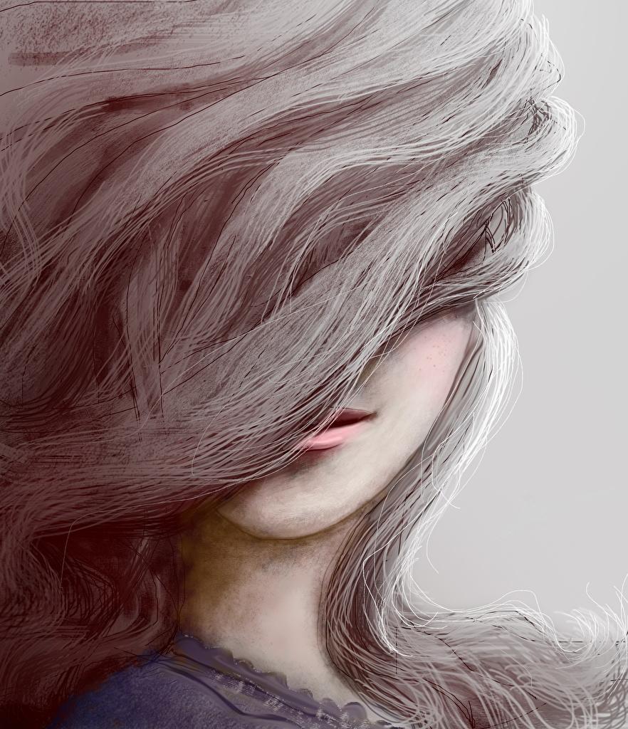 Картинки Волосы Девушки Голова Рисованные