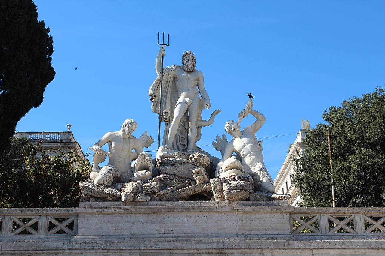 Картинка Рим трезубца Италия Мужчины Piazza del Popolo Города Скульптуры Трезубец