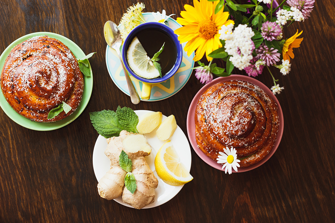 Обои для рабочего стола Чай Лимоны чашке блюдца Продукты питания Выпечка Доски Еда Пища Чашка Блюдце