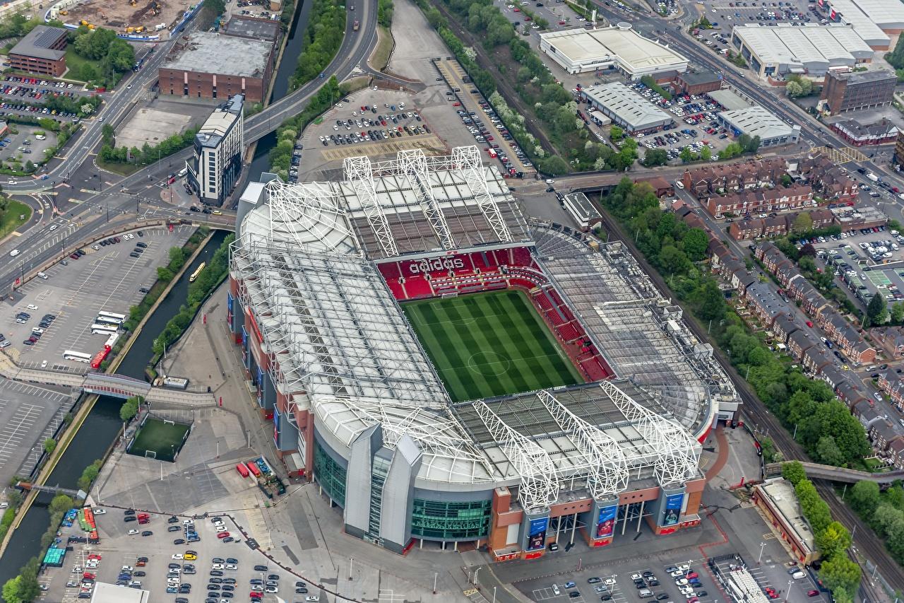 Обои для рабочего стола Англия Old Trafford, Manchester United Стадион Сверху Города город
