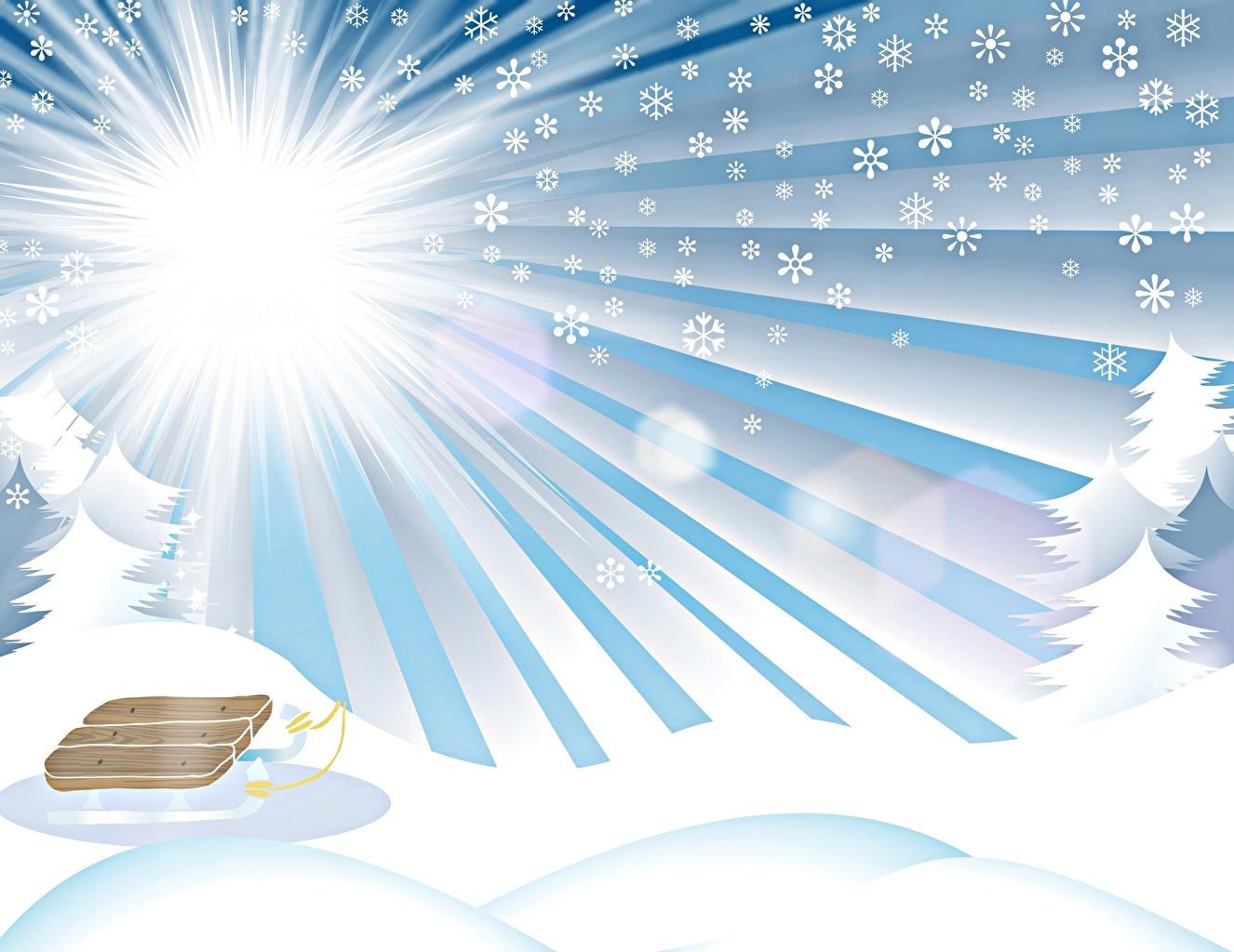 Картинки Лучи света Санки зимние солнца Природа снежинка Снег Векторная графика Сани санях санках Зима Солнце Снежинки снеге снегу снега